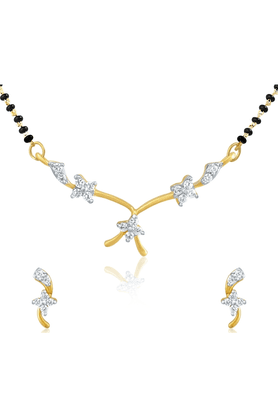 MAHI Gold Plated Mangalsutra Pendant Set With CZ For Women NL1101404G