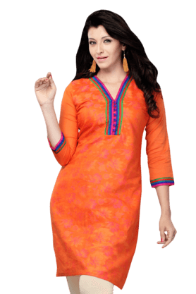 DEMARCA Womens Printed Kurta (Buy Any Demarca Product & Get A Pair Of Matching Earrings Free) - 200936878