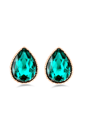 JAZZ Partywear Kaju Shaped Studs Studded With Sea Green Colored Stone