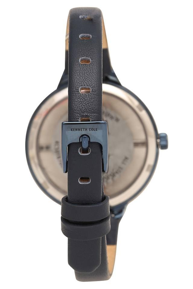 Womens Blue Dial Leather Analogue Watch - KC50187009LD