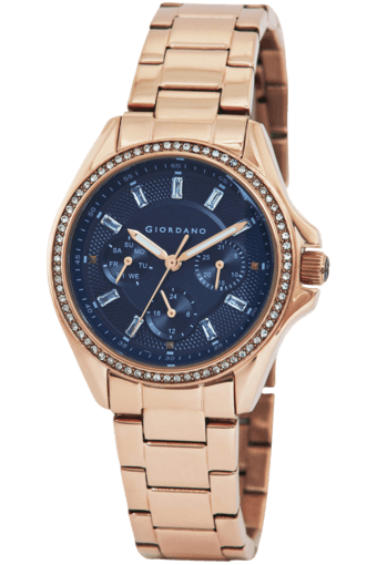 Buy Giordano Womens Monroe Blue Dial Rose Gold Case Watch 2721 55
