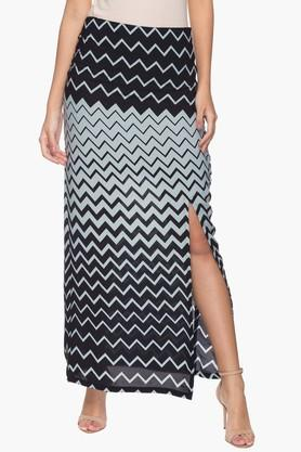 FEMINA FLAUNT Womens Stripe Slitted Skirt