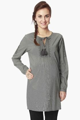 NINE MATERNITY Womens Tie Up Neck Printed Tunic