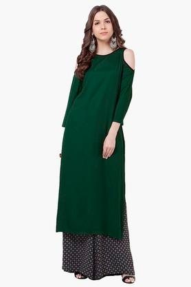 INDYA Womens Cold Shoulder Round Neck Tunic