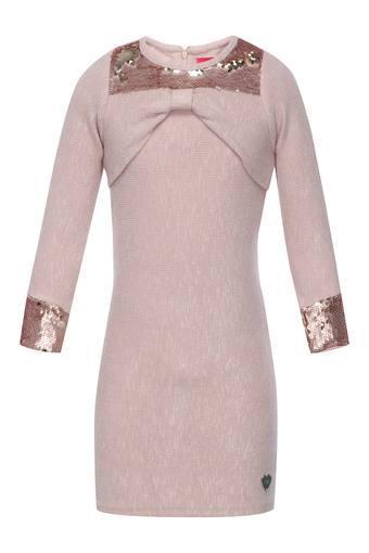 Girls Round Neck Sequined Bodycon Dress