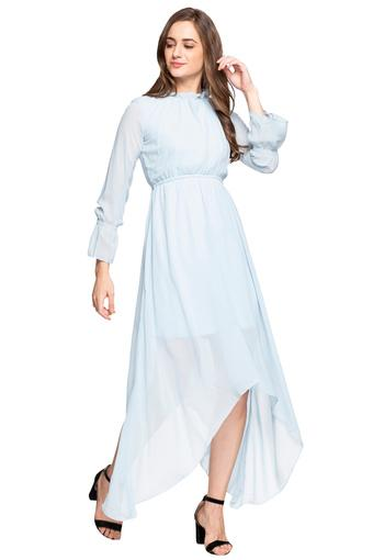 Womens Ruffled Collar Solid Asymmetrical Dress