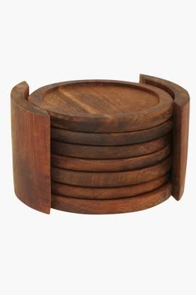 BACK TO EARTH Wooden 6 Pieces Coaster With Stand