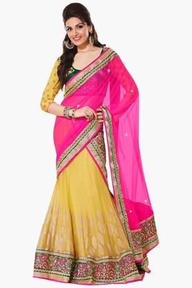 7d5bb8a0f5 DEMARCAWomen Silk Embroidered Lehenga Choli - 9876903 Best ...