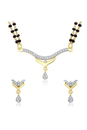 MAHIMahi Gold Plated Sacred Knot Mangalsutra Set With CZ For Women NL1106005G2