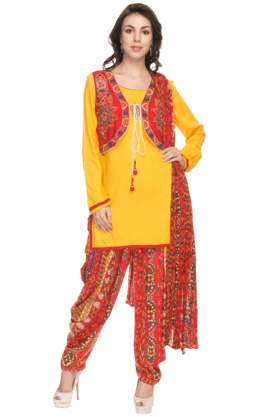 IMARA Womens Printed Kurta Jacket And Patiala Set