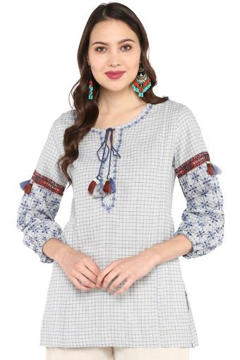 Womens Tie Up Neck Printed Tunic