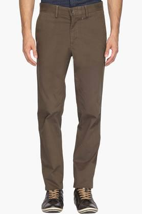 ALLEN SOLLY Mens Regular Fit 5 Pocket Solid Chinos