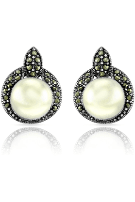 MAHI Mahi Rhodium Plated Royal Enchantment Earrings Made With Swarovski Marcasite For Women ER1107044R