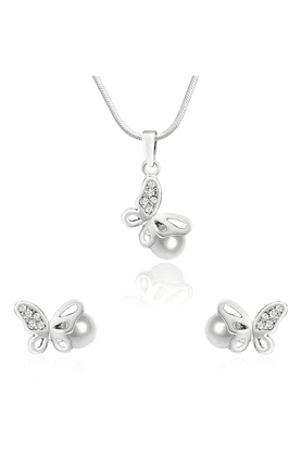 MAHI Mahi Rhodium Plated White Artificial Pearl Butterfly Pendant Set With CZ For Women NL1101773R
