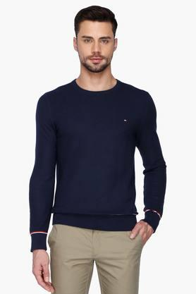 TOMMY HILFIGER Mens Solid Round Neck Sweater  ...