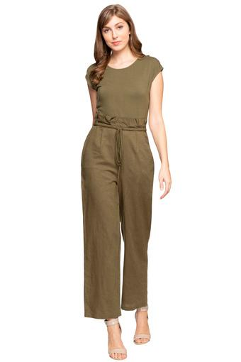 Womens Round Neck Solid Jumpsuit