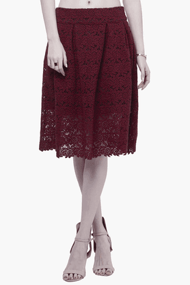 FABALLEY Womens Lace Midi Skirt
