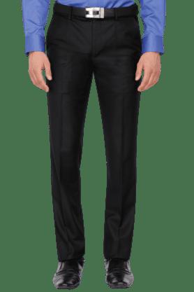 VAN HEUSENMens Slim Fit Solid Formal Trousers