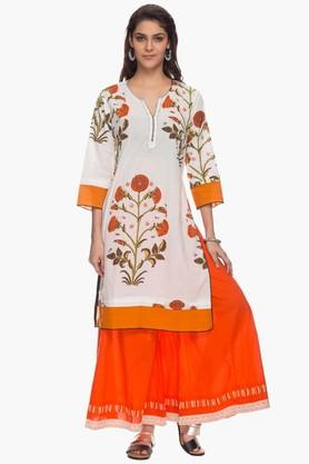 BOHEMYAN BLUE Womens Round Neck Printed Kurta - 201792324