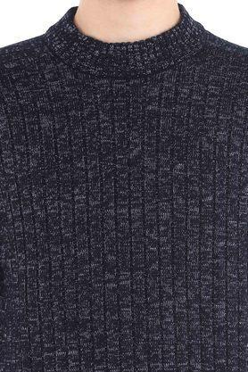 Mens Round Neck Slub Knitted Sweater