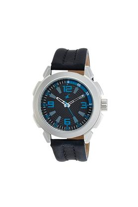 Mens Black Dial Leather Analogue Watch - NK3130SL02