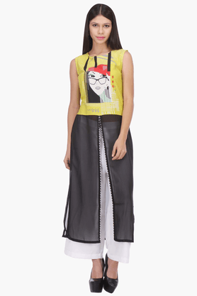 W Womens Printed Sleeveless Maxi Top