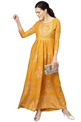 Womens Fit and Flared Round Neck Embroidered Maxi Dress