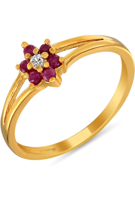 MAHI Mahi Gold Plated Dainty Ring With Ruby And CZ Stones For Women FR1100298G