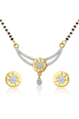 MAHI Mahi Gold Plated Shades Of Love Pendant Set With Cubic Zirconia For Women NL1106003G