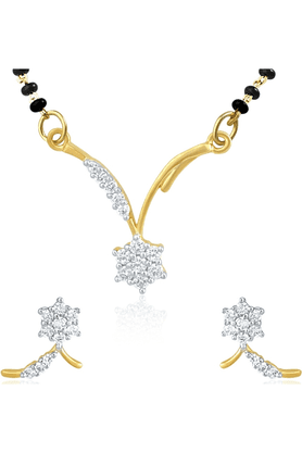 MAHI Gold Plated Mangalsutra Pendant Set With CZ For Women NL11014010G
