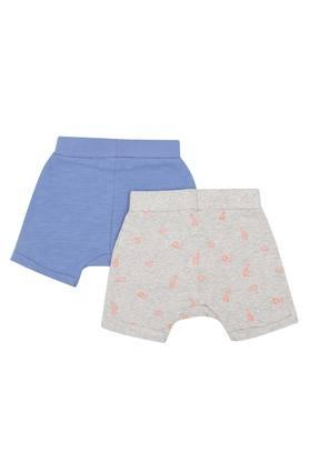 Kids Printed and Slub Shorts - Pack of 2