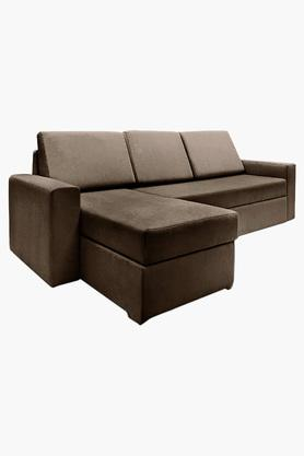 Wheat Brown Fabric Sectional Sofa Bed (2 Seater - 1 Lounger)