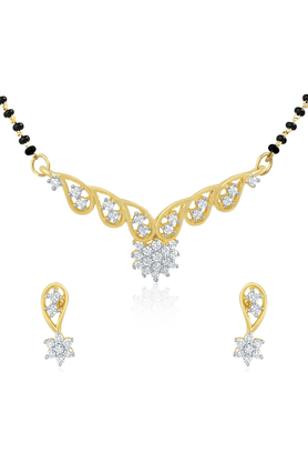 MAHI Gold Plated Mangalsutra Pendant Set With CZ For Women NL11014079G