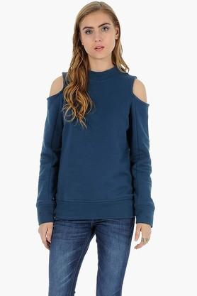 FABALLEY Womens High Neck Cold Shoulder Slub Sweater  ...
