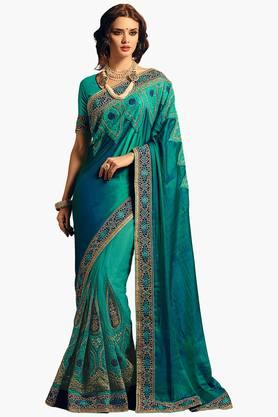 ISHIN Women Net With Silk Pallu Embroidered Saree