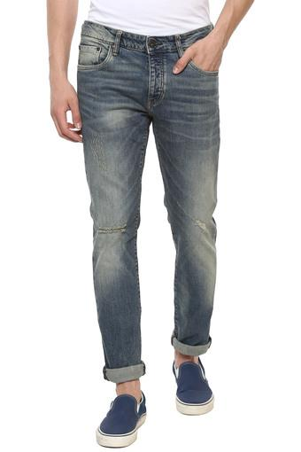 Mens 5 Pocket Mild Wash Distressed Jeans