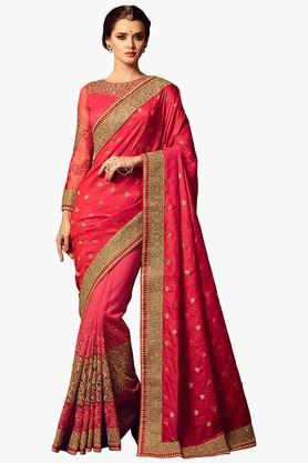 ISHIN Women Net Embroidered Saree