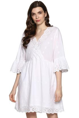 Womens Surplice Neck Perforated Flared Dress