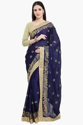 Women Faux Georgette Royal Embroidered Saree
