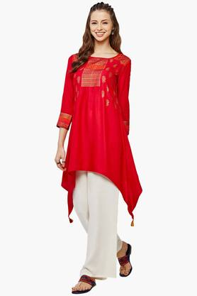 GLOBAL DESI Womens Round Neck Printed Asymmetrical Kurta