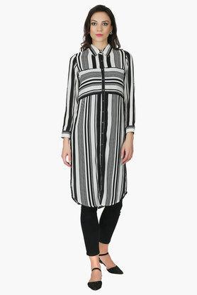 JUNIPERWomens Striped Printed Kurta