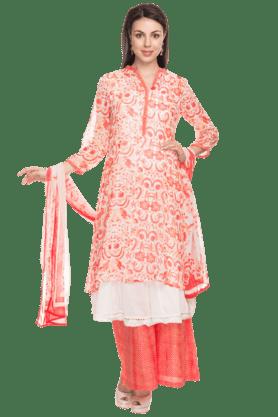BIBAWomens Printed Anarkali Suit With Palazzo Pants