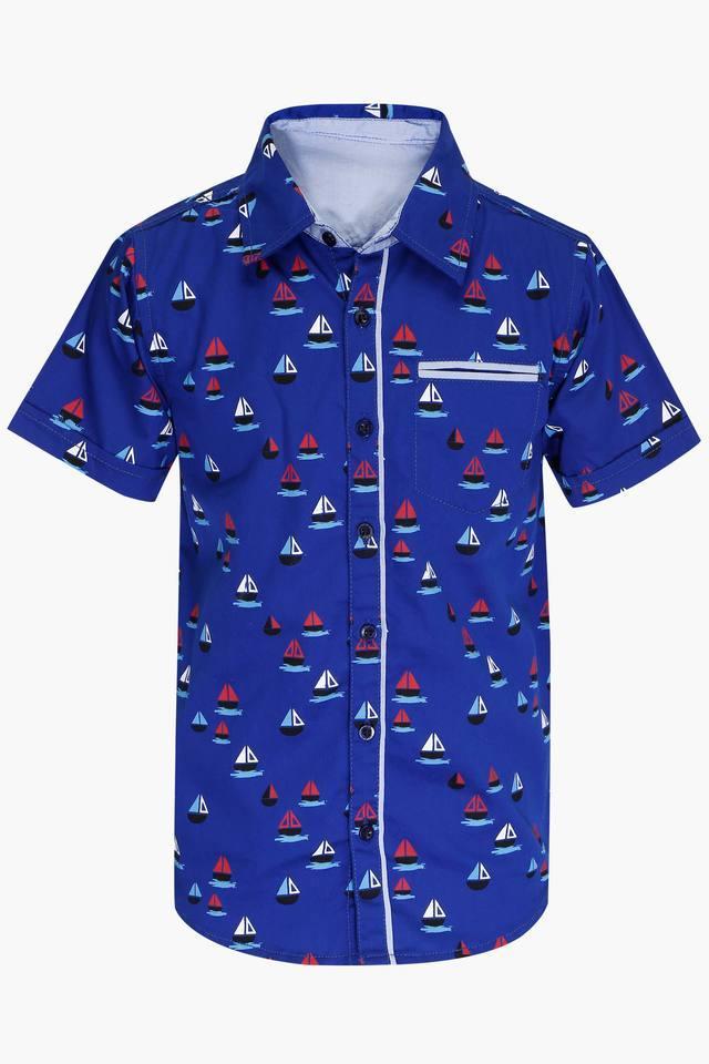 Boys Collared Neck Printed Shirt