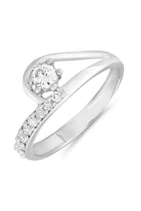 MAHI Mahi Rhodium Plated Arched-Glitter Finger Ring With CZ For Women FR1100653R