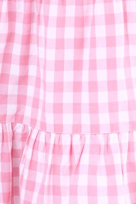 Girls Strappy Check Tiered Dress