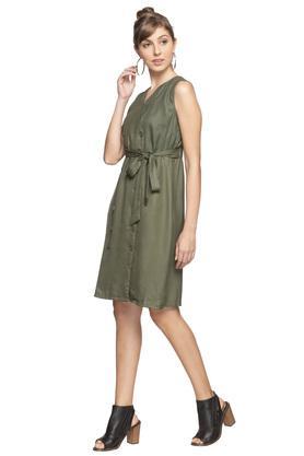 Womens Surplice Neck Solid Wrap Dress