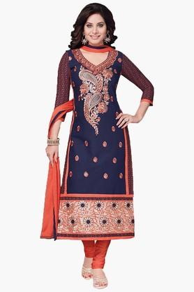 ISHIN Womens Embroidered Unstitched Dress Material - 201832734