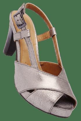 CLARKSWomens Gunmetal Ankle Buckle Closure Heel Sandal
