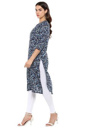 Womens Notched Collar Floral Print Kurta