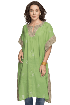 BOHEMYAN BLUE Women Cotton Long Kurta - 200937213